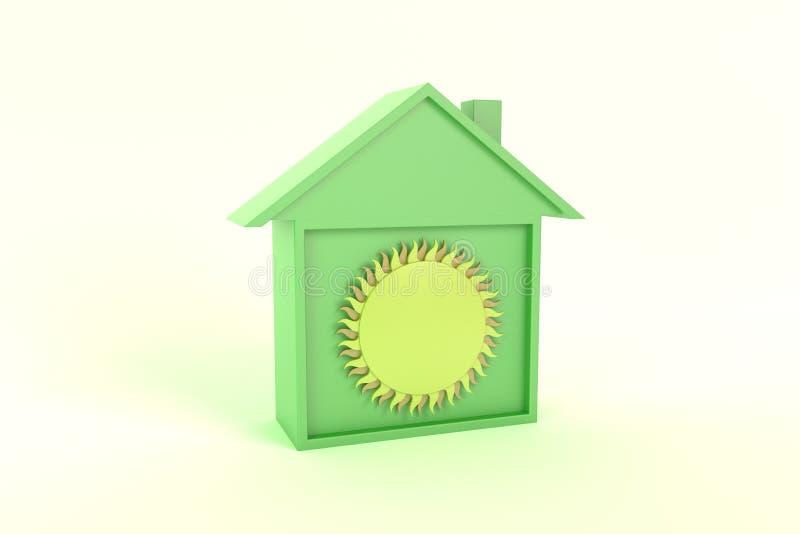 太阳聪明的议院象例证绿色,透视图 向量例证