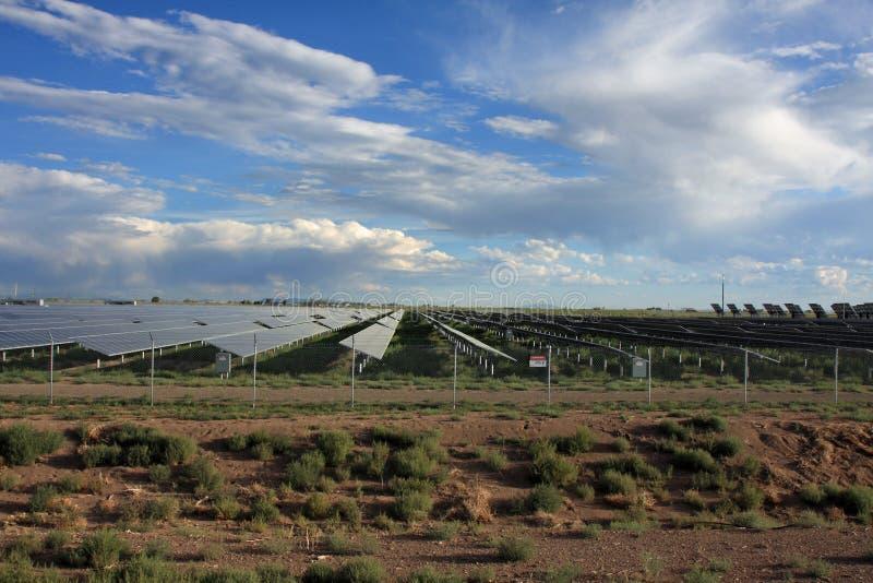 太阳能源的农场 库存图片