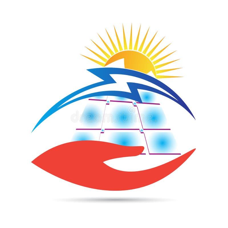 太阳能盘区关心商标 库存例证