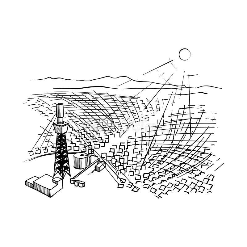太阳能驻地 在电力工业环境问题的例证  库存例证