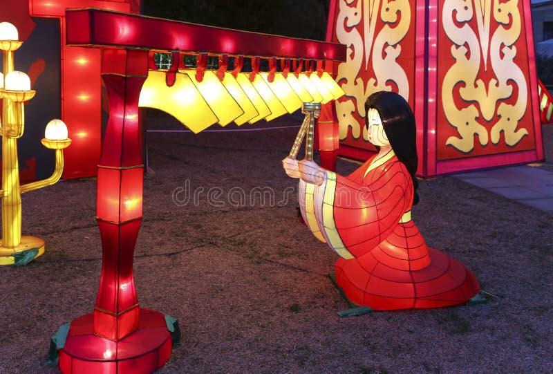 2016太阳节日灯笼节日在成都,瓷 库存照片