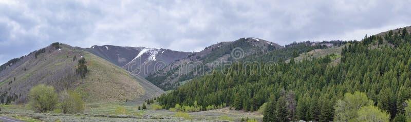 太阳谷,在锯齿山国家森林风景全景视图的獾峡谷从足迹小河路在爱达荷 库存照片