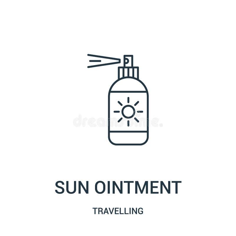 太阳软膏从旅行的收藏的象传染媒介 稀薄的线太阳软膏概述象传染媒介例证 线性标志 向量例证