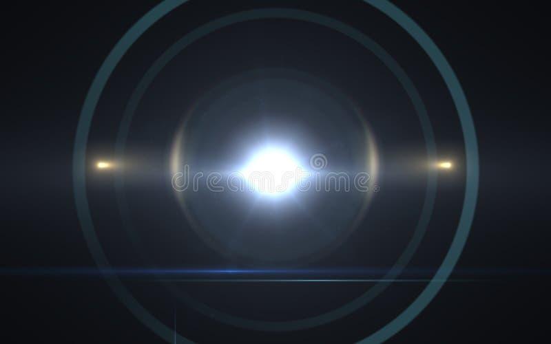 太阳透镜火光作用 抽象圈子数字式透镜火光,透镜火光,轻的泄漏, 免版税库存图片