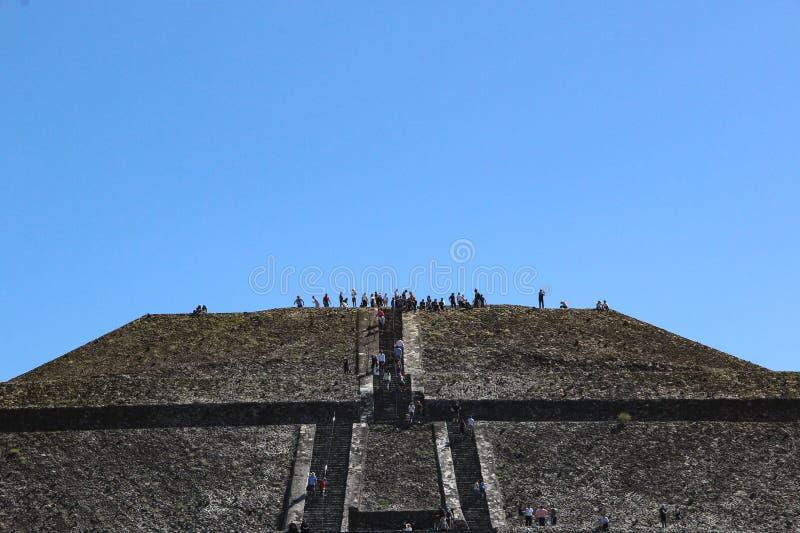 太阳金字塔在特奥蒂瓦坎,墨西哥城 免版税库存照片
