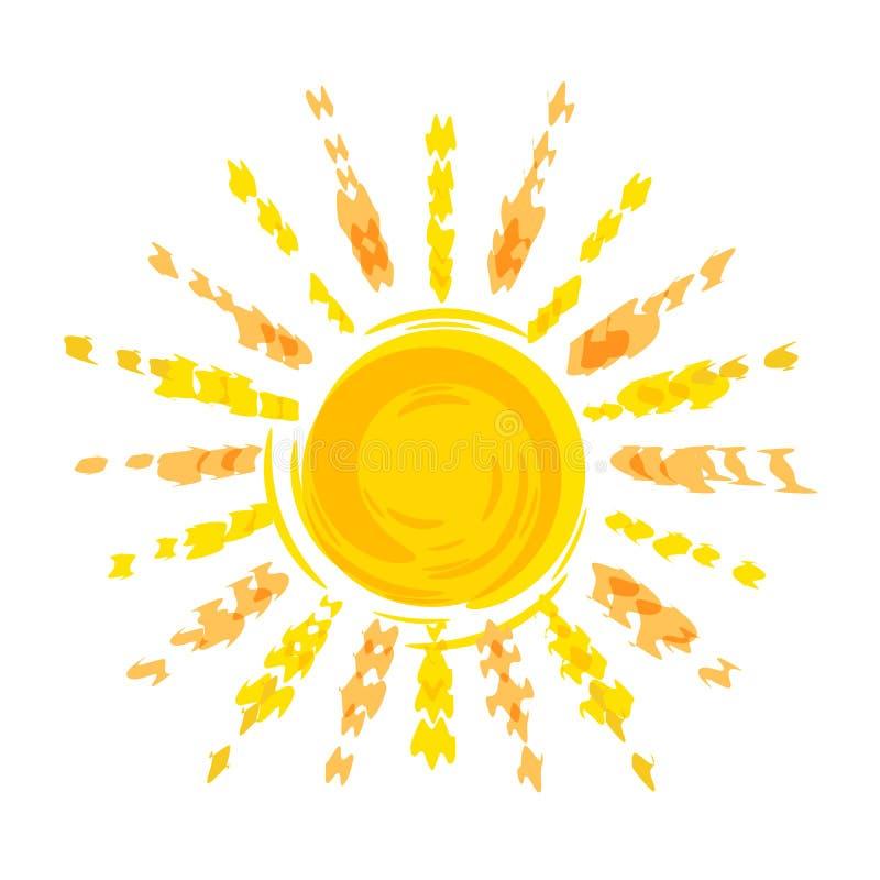太阳铅笔图,旅行公司的商标模板 与光芒的太阳圈子 隔绝在白色背景传染媒介 向量例证
