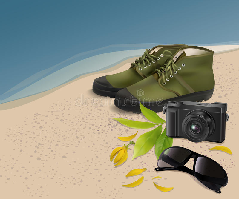 太阳镜、鞋子、照相机与花和叶子在海滩,传染媒介 库存例证
