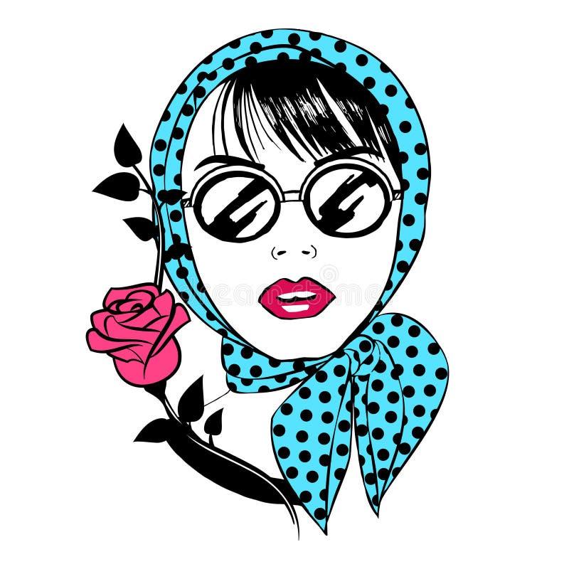 太阳镜和一条围巾的美丽的女孩有红色玫瑰的 画象 皇族释放例证