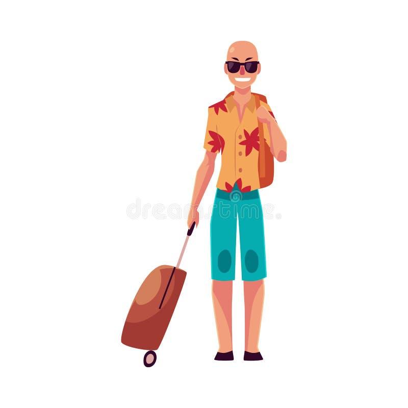 太阳镜和havaii衬衣的年轻秃头人带着手提箱 库存例证