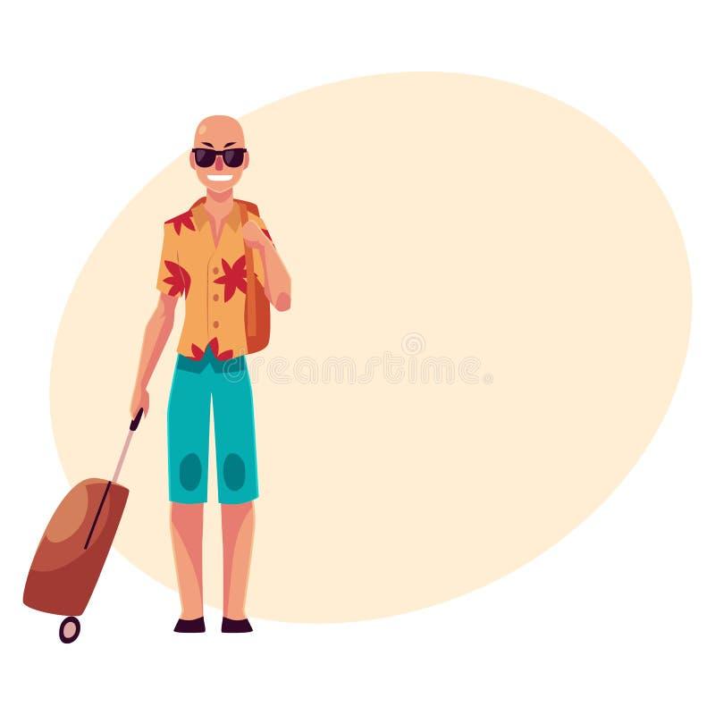 太阳镜和havaii衬衣的年轻秃头人带着手提箱 向量例证