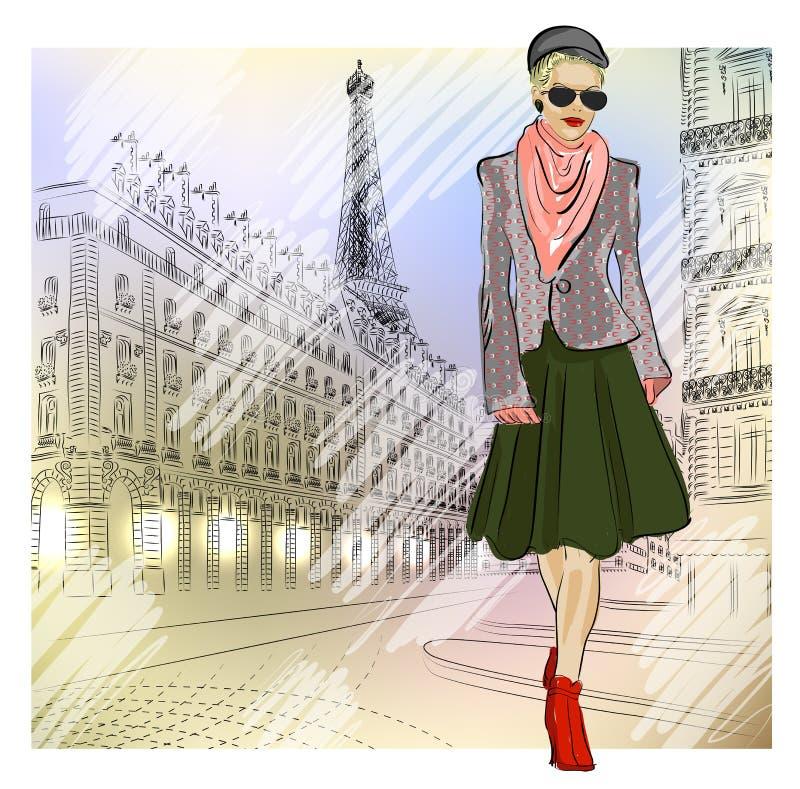 太阳镜的典雅的时尚女孩在街道上  向量例证