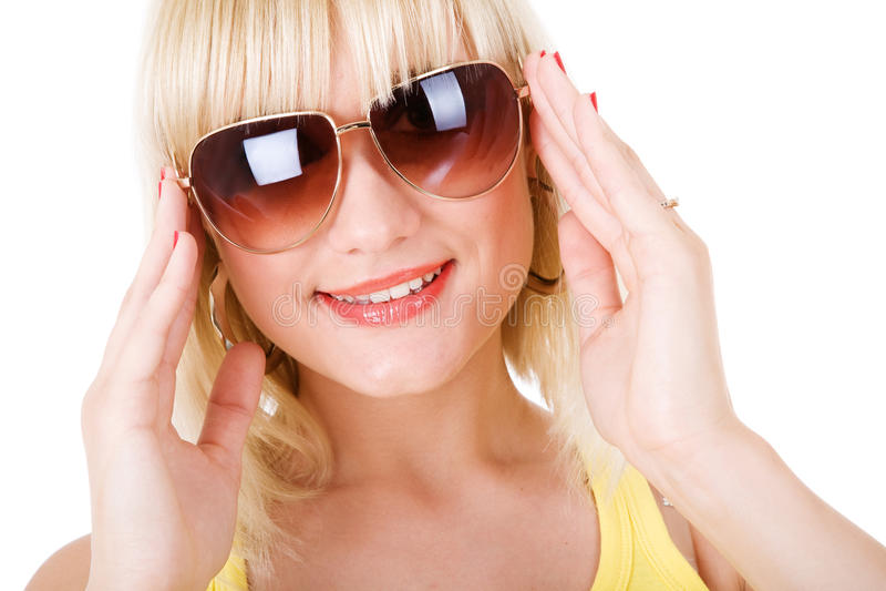 太阳镜的女孩 库存照片