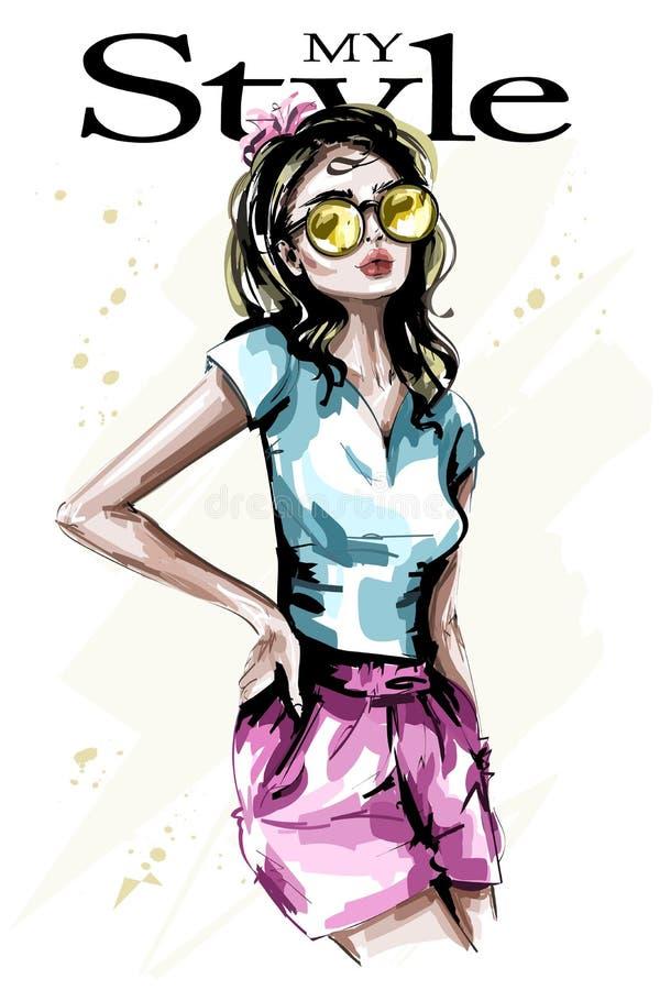 太阳镜的手拉的美丽的少妇 时髦的典雅的女孩 方式妇女 草图 库存例证