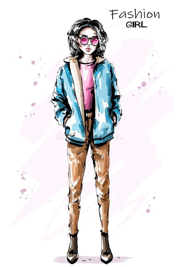 太阳镜的时髦的典雅的女孩 时尚妇女成套装备 库存例证