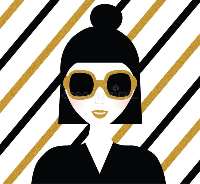 太阳镜的时兴的现代女孩 画象有金闪烁的镶边背景 方式例证 向量例证