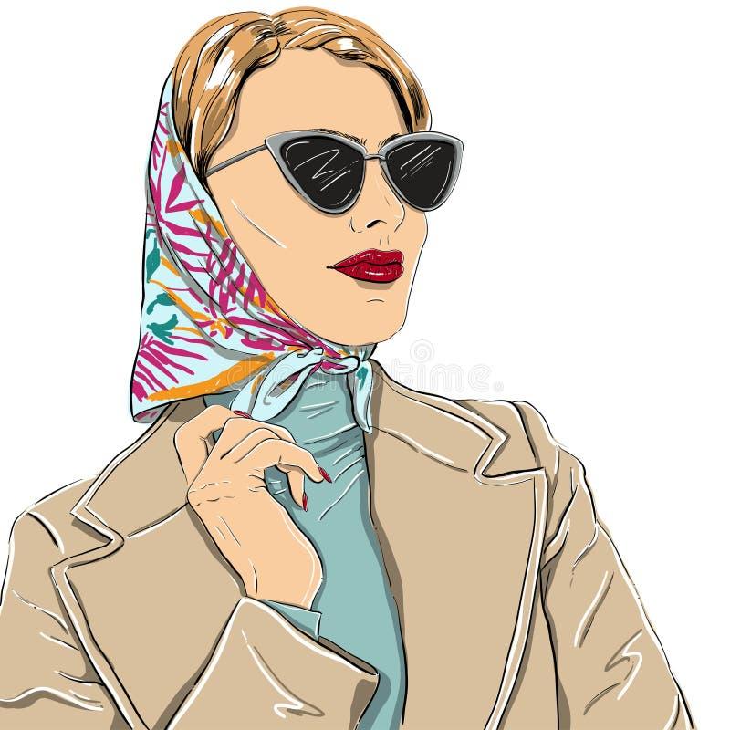 太阳镜的美丽的时尚妇女导航例证eps 库存例证