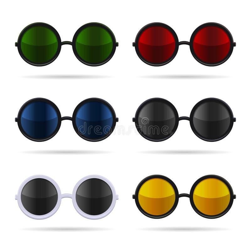 太阳镜设置与在白色背景的颜色玻璃 向量 库存例证