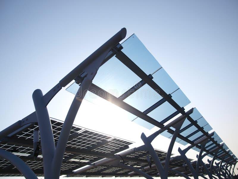 太阳面板的次幂 免版税库存图片