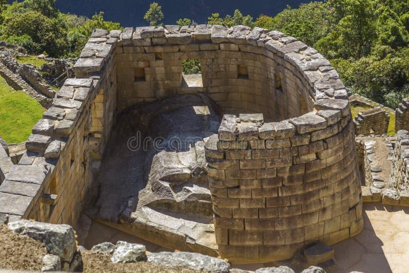 太阳马丘比丘的寺庙破坏库斯科省秘鲁 库存照片