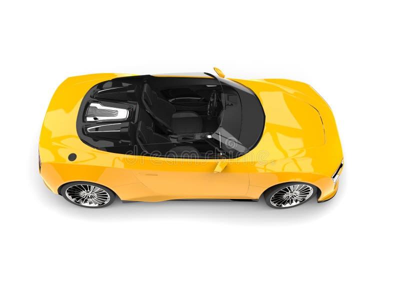 太阳黄色现代敞篷车体育车的顶端视图 向量例证