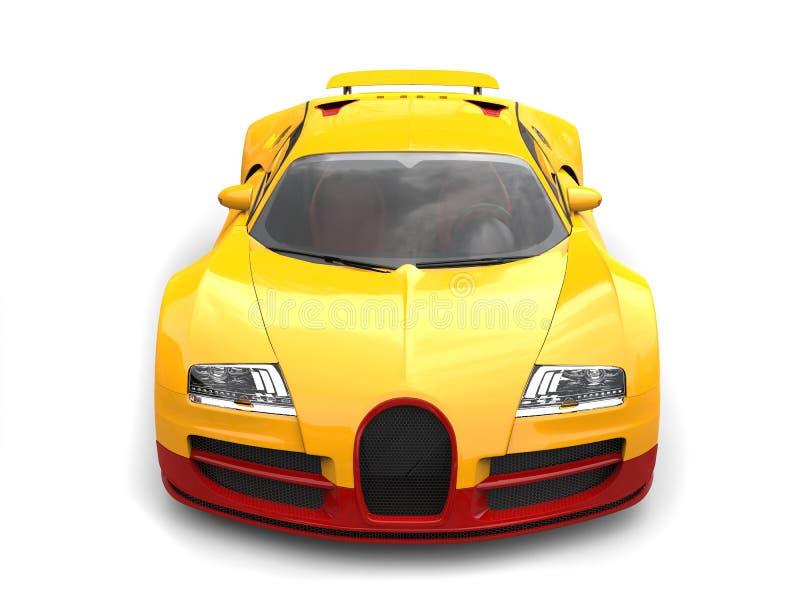 太阳黄色现代超级体育车的顶视图 免版税图库摄影