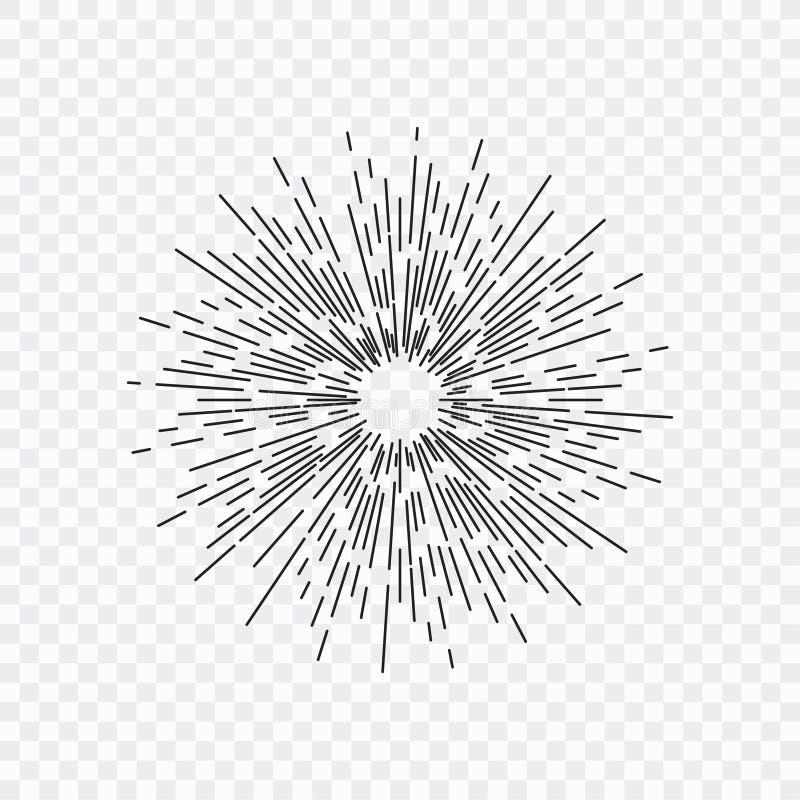 太阳黑光芒、旭日形首饰和光芒  设计元素,线性图画,葡萄酒行家样式 也corel凹道例证向量 库存例证