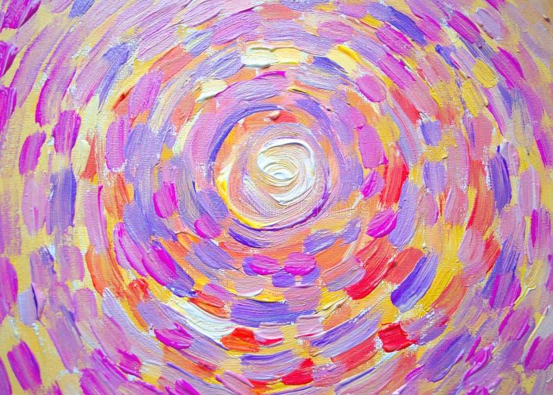 太阳,在帆布的美好的五颜六色的光抽象绘画  现代印象主义 明亮的光亮的太阳的例证 冲程pai 库存例证