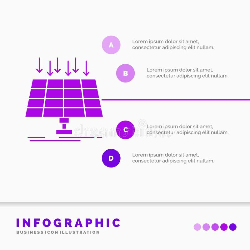 太阳,盘区、能量、技术、聪明的城市Infographics模板网站的和介绍 r 向量例证
