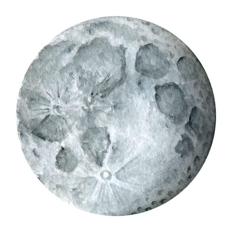 太阳系-地球卫星-月亮 额嘴装饰飞行例证图象其纸部分燕子水彩 向量例证