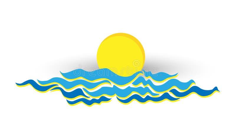 太阳/月亮商标在有海波浪或云彩商标的海在白色背景 向量例证