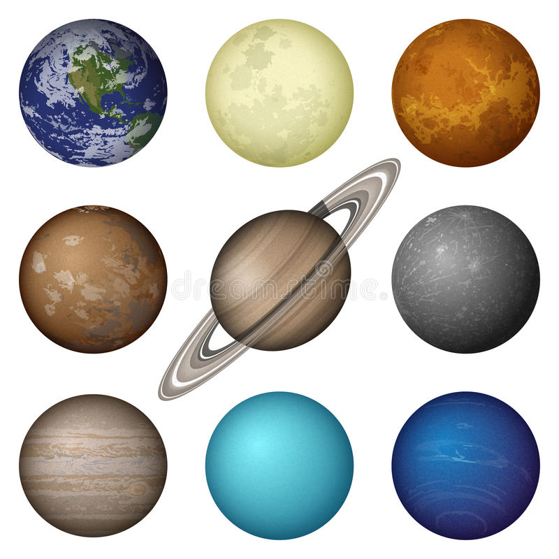 太阳系行星和月亮,集合 库存例证