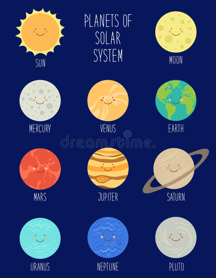 太阳系行星逗人喜爱的微笑的漫画人物  幼稚背景 皇族释放例证