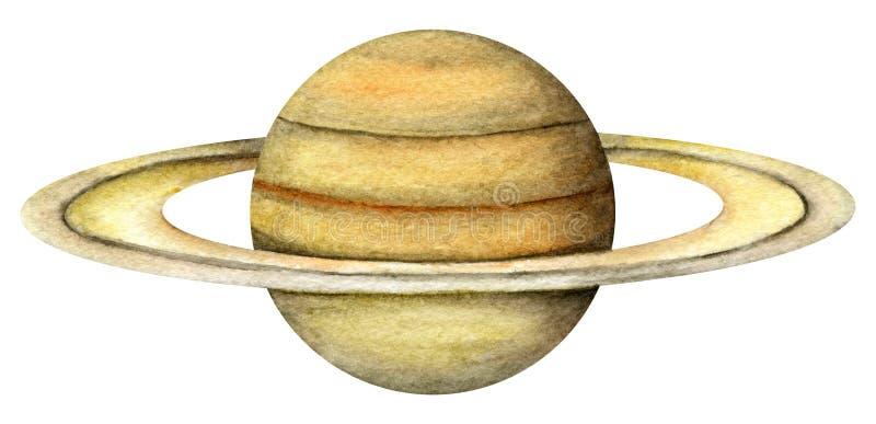 太阳系行星-土星 向量例证