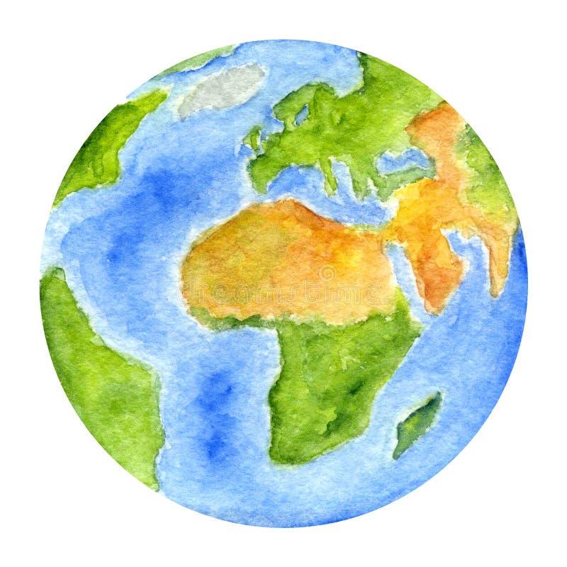 太阳系行星-地球 额嘴装饰飞行例证图象其纸部分燕子水彩 向量例证
