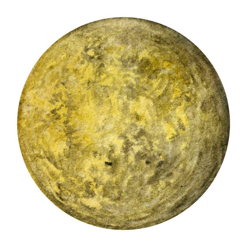 太阳系行星-水星 额嘴装饰飞行例证图象其纸部分燕子水彩 库存例证
