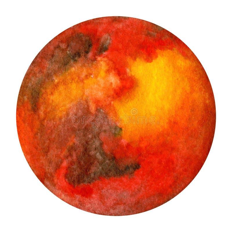 太阳系行星-火星 额嘴装饰飞行例证图象其纸部分燕子水彩 皇族释放例证