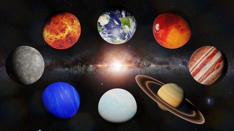 太阳3d科学点燃的太阳系的行星回报,这个图象的元素由美国航空航天局装备 皇族释放例证