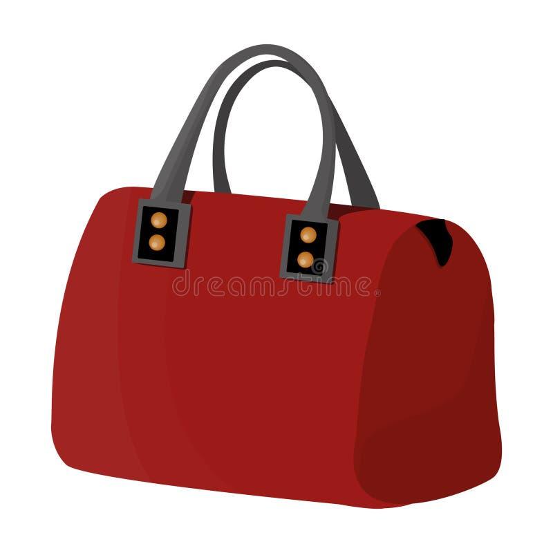 夫人与把柄的` s袋子 夫人辅助部件项目 妇女在动画片样式传染媒介标志给唯一象穿衣 库存例证