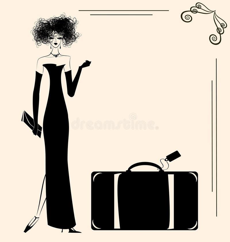 夫人和手提箱 向量例证