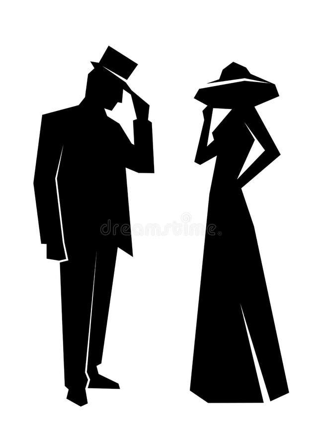 夫人和绅士的剪影 皇族释放例证