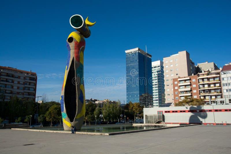 夫人我Ocell,胡安・米罗的雕塑在巴塞罗那 免版税库存图片