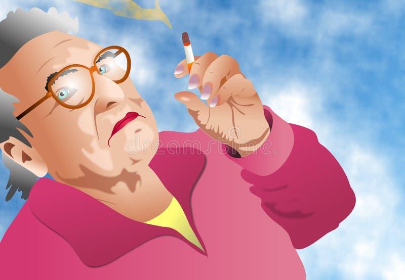 夫人抽烟 免版税库存照片