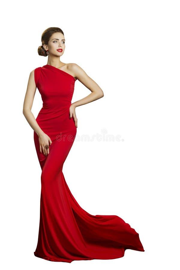 夫人晚礼服,长的褂子的,时尚尾巴端庄的妇女 库存图片