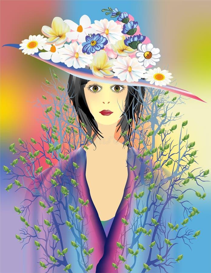 夫人有花的春天帽子 皇族释放例证