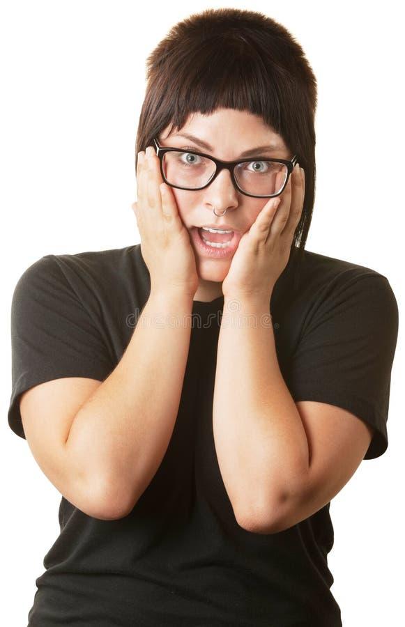 夫人用在面颊的现有量 免版税库存图片