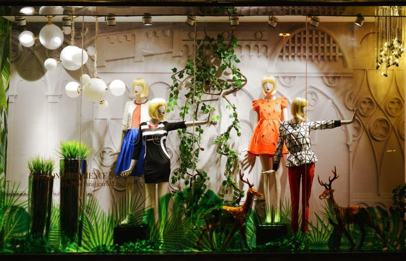 夫人的春天时尚商店窗口 图库摄影
