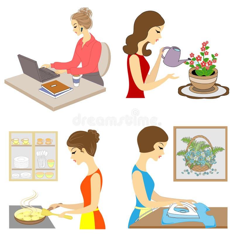 ?? 夫人的生活 女孩准备吃,种植花,铁衣裳,在计算机的工作 r 库存例证