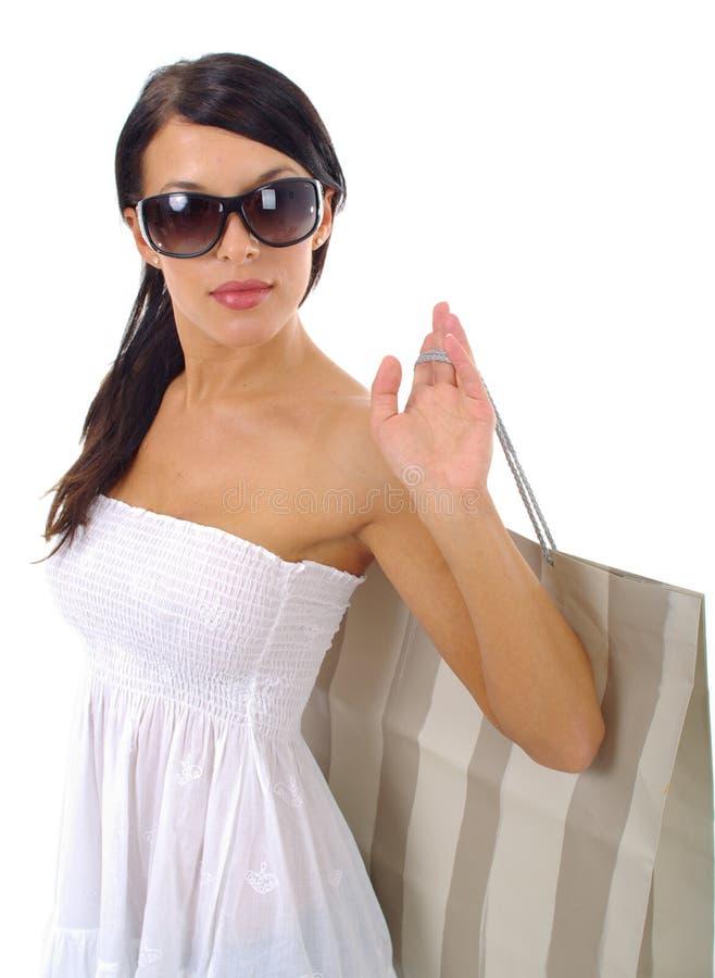 夫人购物白色 免版税图库摄影