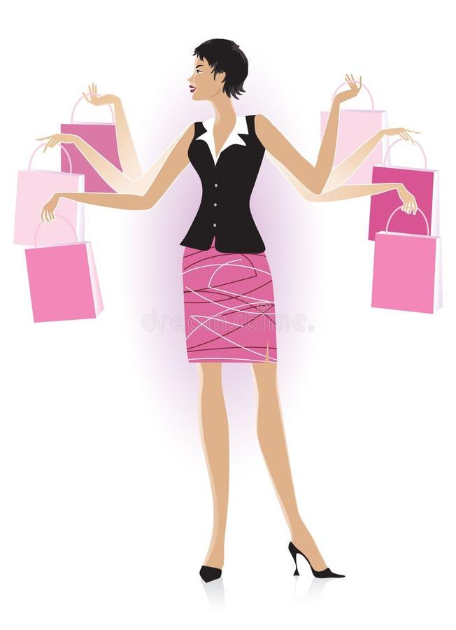 夫人购物 向量例证