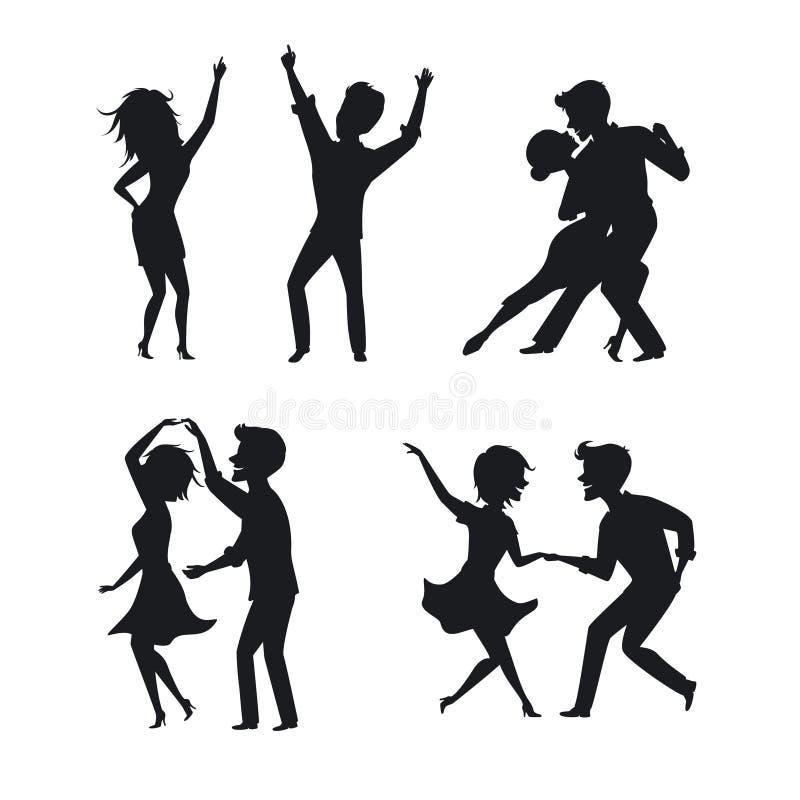 夫妇、男人和妇女跳舞探戈,转弯,浪漫,聚成棍棒状一团舞蹈 向量例证